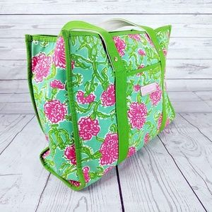 Lilly Pulitzer Green Pink Floral Original Tote